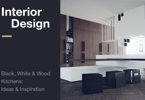 Interior Design: Black, White & Wood  Kitchens:  Ideas & Inspiration
